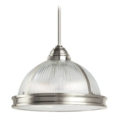 Sea Gull Lighting Pratt Street Prismatic Brushed Nickel LED Pendant Light with Bowl / Dome Shade