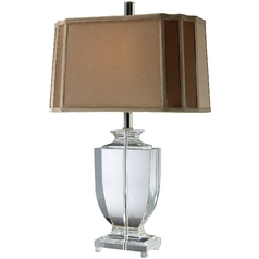 Table Lamp with Brown Shade in Clear Crystal Finish