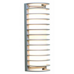 Access Lighting Outdoor Wall Light with White Glass in Satin Nickel Finish 20342MG-SAT/RFR
