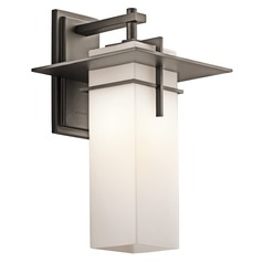Kichler Outdoor Wall Light with White Glass in Olde Bronze Finish