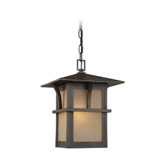 Outdoor Hanging Light with Amber Glass in Statuary Bronze Finish