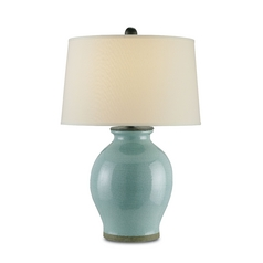 Table Lamp with White Shade in Robin's Egg Blue Finish