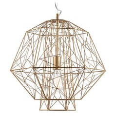 Nuevo Lighting Zeus Gold Cage Pendant Light