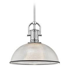 Industrial Prismatic Glass Pendant Light Black / Chrome 13.13-Inch Wide