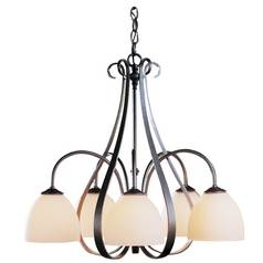 Hubbardton Forge 5-Light Chandelier with Alabaster Glass in Natural Iron