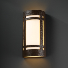 Outdoor Wall Light with White in Hammered Iron Finish
