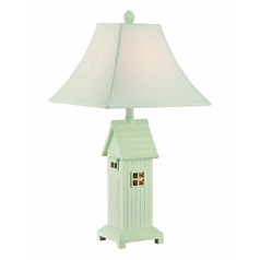 Lite Source Lodge Brushed Antique White Table Lamp with Square Shade