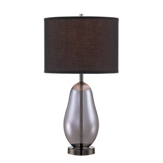 Lite Source Ovadia Smoked Chrome Table Lamp with Drum Shade
