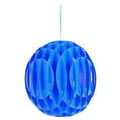 Pendant Light with Blue Glass in Polished Steel Finish