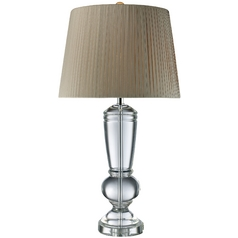 Table Lamp with Grey Shade in Clear Crystal Finish