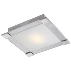 Modern Flushmount Light in Brushed Steel Finish