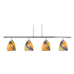 Modern Island Light with Multi-Color Glass in Chrome Finish