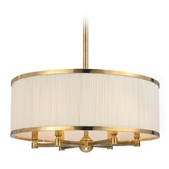 Hastings 6 Light Pendant Light Drum Shade - Aged Brass