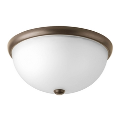 Progress Lighting Modern Flushmount Light with White Glass in Antique Bronze Finish P3642-20WB