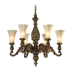 Chandelier with Beige / Cream Glass in Burnt Bronze/weathered Gold Leaf Finish