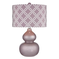 Table Lamp with Purple Shade in Lilac Luster Finish