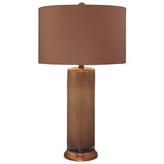 Minka Lavery Brown Table Lamp with Drum Shade