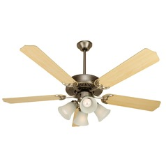 Craftmade Pro Builder 203 Brushed Satin Nickel Ceiling Fan with Light