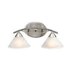 Elk Lighting Modern Bathroom Light with White Glass in Satin Nickel Finish 7631/2