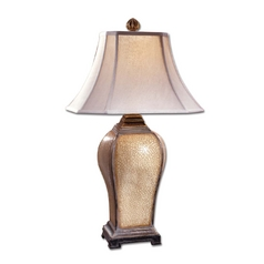 Table Lamp with Beige / Cream Shade in Light Burnished Wash Finish