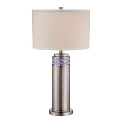 Lite Source Lighting Cinzia Polished Steel Table Lamp with Drum Shade