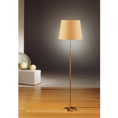 Holtkoetter Modern Floor Lamp with Beige / Cream Shade in Antique Brass Finish