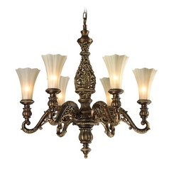 LED Chandelier with Beige / Cream Glass in Burnt Bronze/weathered Gold Leaf Finish