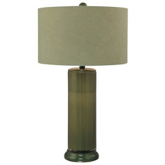 Minka Lavery Green Table Lamp with Drum Shade