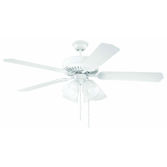 Craftmade Pro Builder 203 White Ceiling Fan with Light