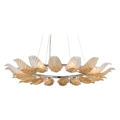 Corbett Lighting Anello Gold Leaf / Stainless Pendant Light with Bowl / Dome Shade