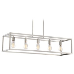 Industrial Island Light Brushed Nickel New Harbor by Quoizel Lighting