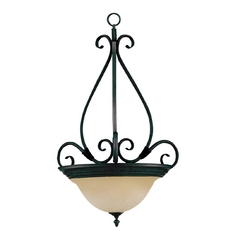Pendant Light with Beige / Cream Glass in Kentucky Bronze Finish