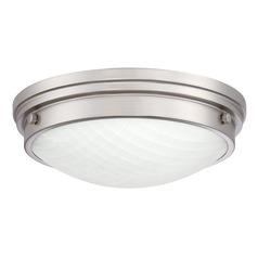 Brushed Nickel LED Flushmount Light with White Shade 3000K 1500LM