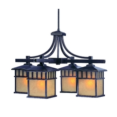 Outdoor Chandelier with Beige / Cream Glass in Winchester Finish