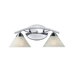 Elk Lighting Modern Bathroom Light with White Glass in Polished Chrome Finish 17021/2
