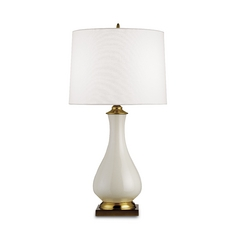 Table Lamp with White Shade in Cream Crackle Finish