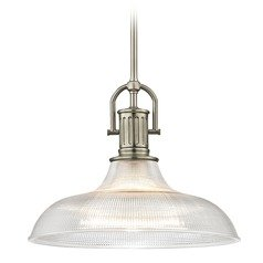 Farmhouse Industrial Prismatic Pendant Light Satin Nickel 15.38-Inch Wide