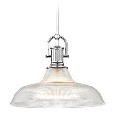 Farmhouse Industrial Chrome Prismatic Pendant Light 15.38-Inch Wide