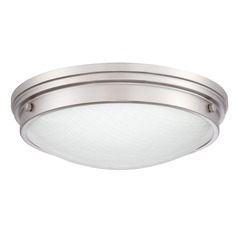 Brushed Nickel LED Flushmount Light with White Shade 3000K 1800LM