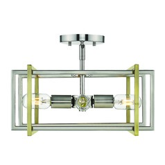 Golden Lighting Tribeca Pewter Semi-Flushmount Light