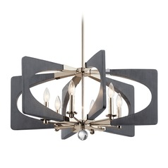 Kichler Lighting Alscar 6-Light Polished Nickel and Grey Chandelier