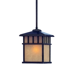 Outdoor Hanging Light with Beige / Cream Glass in Winchester Finish