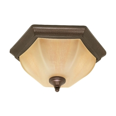 Flushmount Light with Beige / Cream Glass in Copper Bronze Finish