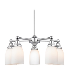 Chandelier with White Glass in Polished Chrome Finish