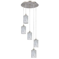 Design Classics Lighting Modern Multi-Light Pendant Light with Grey Art Glass and 5-Lights 580-09 GL1025C