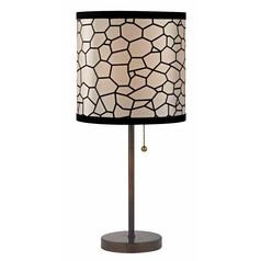 Design Classics Lighting Bronze Table Lamp with Pull-Chain and Honeycomb Drum Shade 1900-604 SH9501