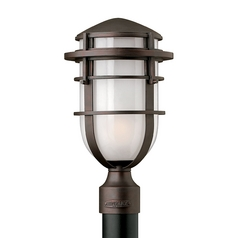 Post Light with White Glass in Victorian Bronze Finish