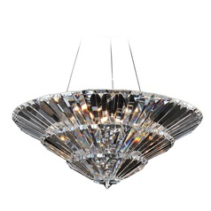 Art Deco Pendant Light Chrome Auletta by Allegri Crystal