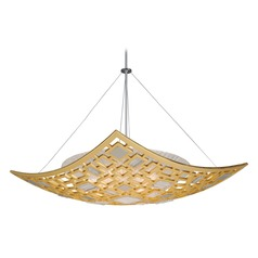 Corbett Lighting Motif Gold Leaf / Stainless Pendant Light with Bowl / Dome Shade