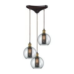 Bremington Oil Rubbed Bronze / Brass Multi-Light Pendant with Bowl / Dome Shade